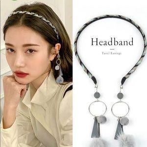Grey Headband with Earring like Dangling